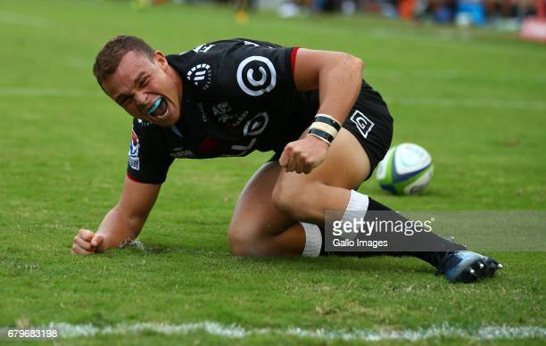 Curwin Bosch of the Cell C Sharks during the Super Rugby match between Cell C Sharks and Force at Growthpoint Kings Park on May 06 2017 in Durban...