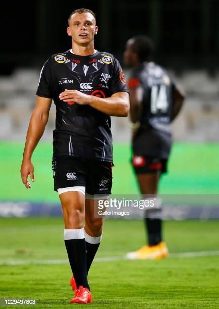 Curwin Bosch of the Cell C Sharks looks on during the Super Rugby Unlocked match between Cell C Sharks and Toyota Cheetahs at Jonsson Kings Park on...