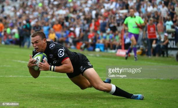 Curwin Bosch of the Cell C Sharks over for try during the Super Rugby match between Cell C Sharks and Force at Growthpoint Kings Park on May 06 2017...