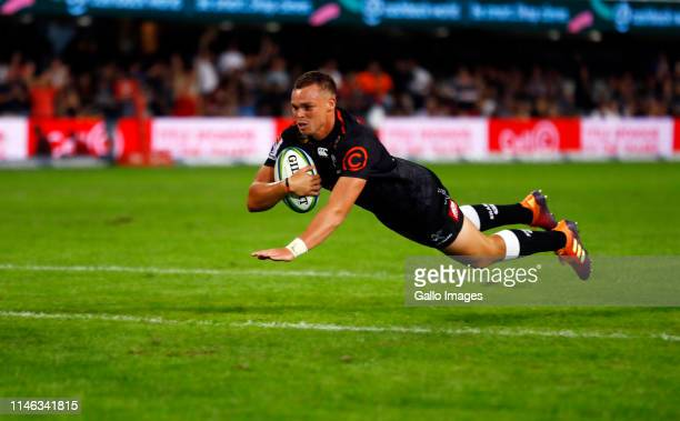 Curwin Bosch of the Cell C Sharks scores a try during the Super Rugby match between Cell C Sharks and Emirates Lions at Jonsson Kings Park Stadium on...