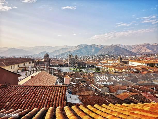 cusco skyline - provinz cusco stock-fotos und bilder