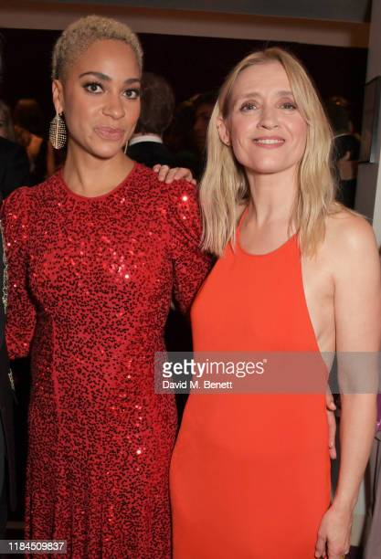 Cush Jumbo and AnneMarie Duff attend the 65th Evening Standard Theatre Awards in association with Michael Kors at the London Coliseum on November 24...