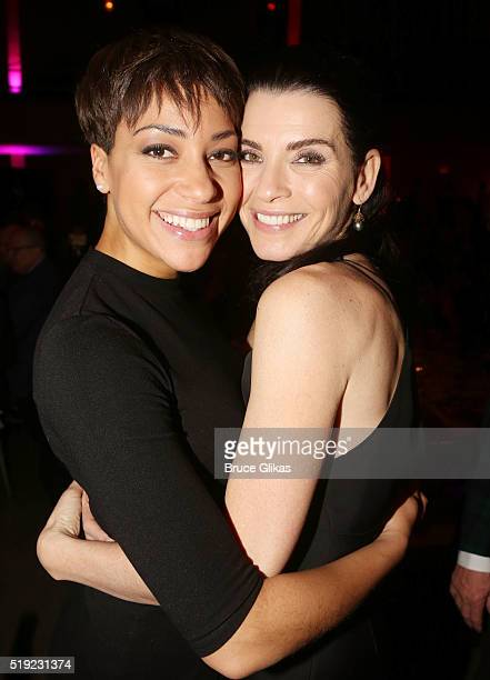 Cush Jumbo and Julianna Marguiles pose at the MCC Theater Company's 'Miscast' 2016 Gala at The Hammerstein Ballroom on April 4 2016 in New York City