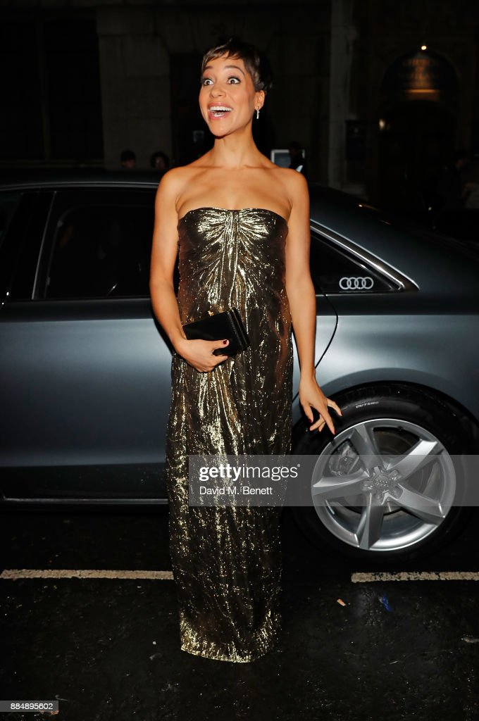 Cush Jumbo arrives in an Audi at the Evening Standard Theatre Awards at Theatre Royal on December 3, 2017 in London, England.
