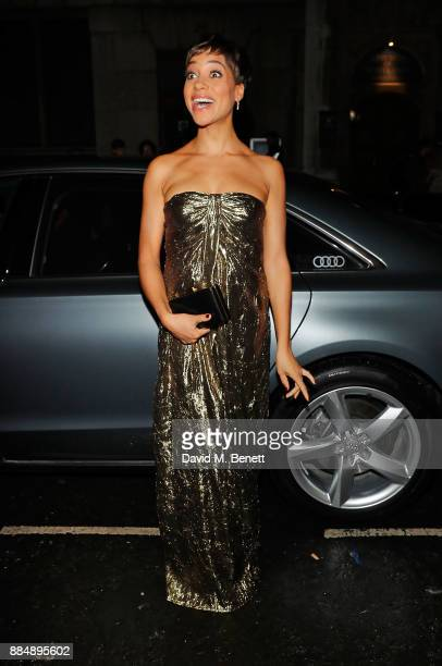 Cush Jumbo arrives in an Audi at the Evening Standard Theatre Awards at Theatre Royal on December 3 2017 in London England