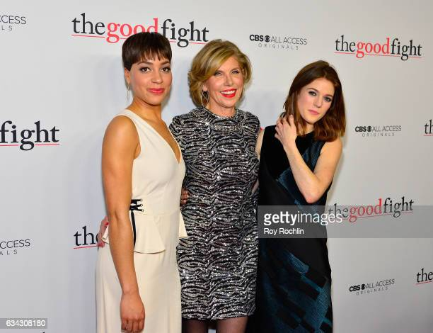 Cush Jumbo Christine Baranski and Rose Leslie attends 'The Good Fight' World Premiere at Jazz at Lincoln Center on February 8 2017 in New York City