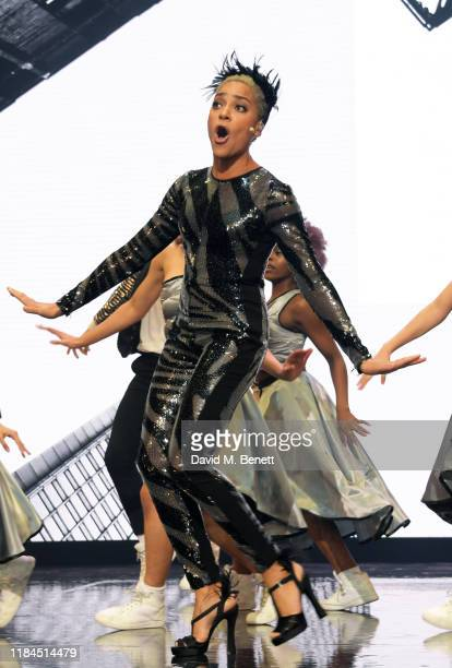 Cush Jumbo performs with students of the BRIT School at the 65th Evening Standard Theatre Awards in association with Michael Kors at the London...