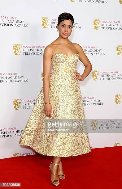 Cush Jumbo poses in the winners room at the House Of Fraser British Academy Television Awards 2016 at the Royal Festival Hall on May 8 2016 in London...