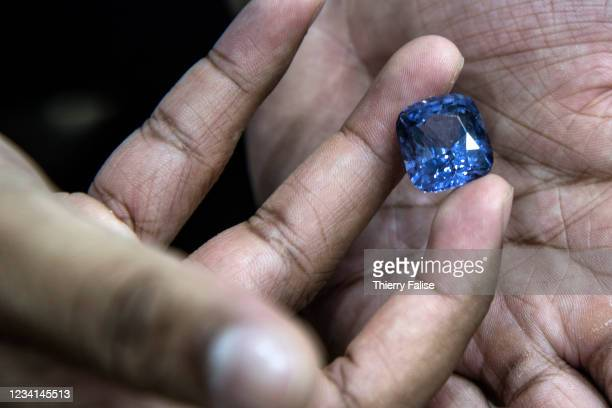 Cushion cut blue sapphire. Most sapphire and other gems mining is done traditionally in Ratnapura area. Ratnapura means city of gems in Sinhala and...