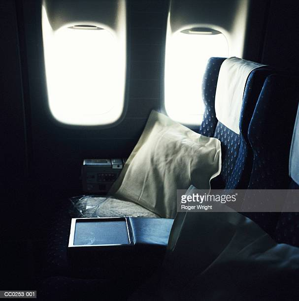 Cushion on empty airline seat