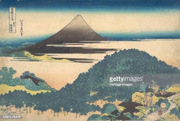 Cushion Pine at Aoyama , from the series Thirty-six Views of Mount Fuji , circa 1830-32. Artist Hokusai.