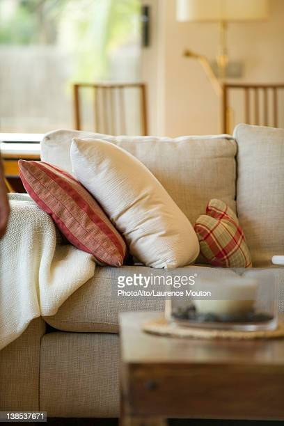 Cushions on sofa in living room