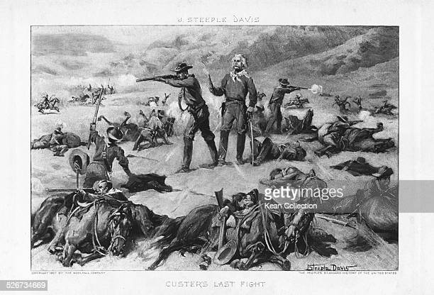Engraved scene depicting the last stand of General Custer at the Battle of Little Bighorn Montana June 25th 1826