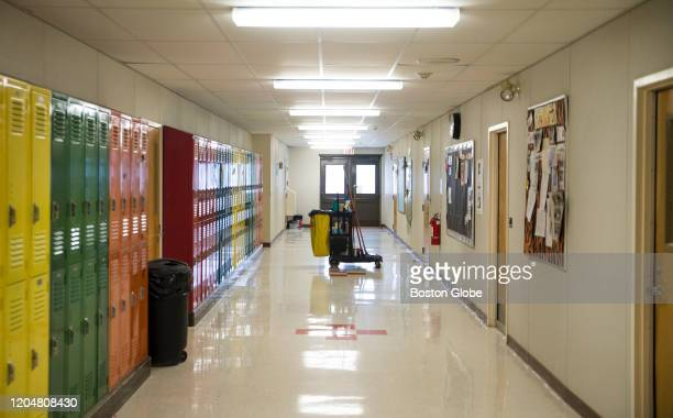 A custodial cart sits in the empty hallway of Forest Hills School in Jackman ME on Feb 27 2020 during a snow day The snow day was the first one in...
