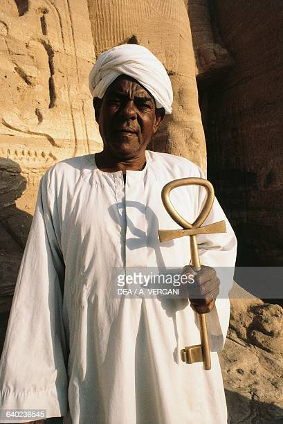 Custodian with an ankhshaped key for the Temple of Abu Simbel Lake Nasser Egypt