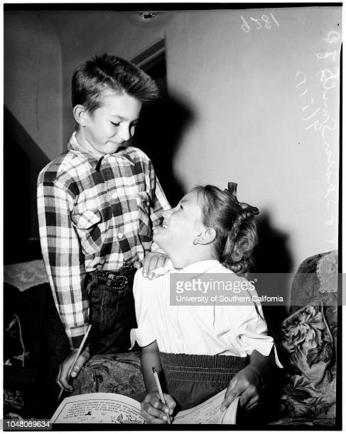 Custody 05 September 1951 Leland Smith 8 yearsSharon Smith 6 yearsHarry CohenCaption slip reads 'Photographer Snow Date 0905 Reporter Keating...