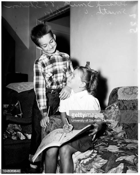 Custody 05 September 1951 Leland Smith 8 yearsSharon Smith 6 yearsHarry CohenCaption slip reads 'Photographer Snow Date 0905 Reporter Keating...