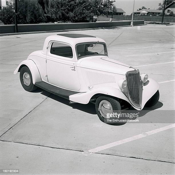 Custom 1934 Ford 3Window Coupe with chrome wheels big dish hubcaps louvered hood and monochromatic paint scheme