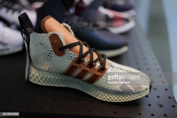 Custom adidas at Maker Lab at adidas Creates 747 Warehouse St an event in basketball culture on February 17 2018 in Los Angeles California