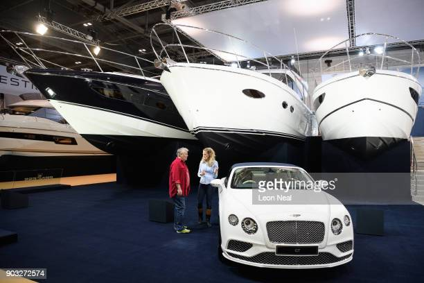 A custom Bentley Continental GT Convertible Galene Edition car is displayed on the Princess stand at the London Boat Show on January 10 2018 in...