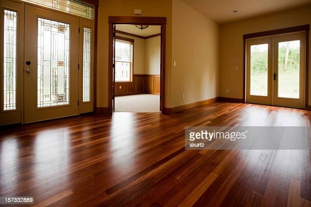 Custom home interior with beautiful warm wood floors