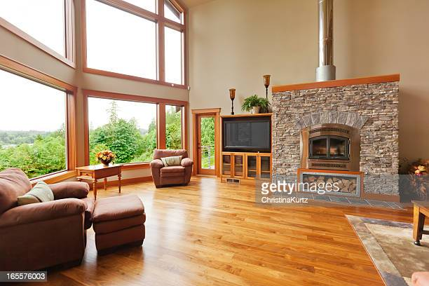 custom home interior with solid walnut wood floor - hardwood stock pictures, royalty-free photos & images