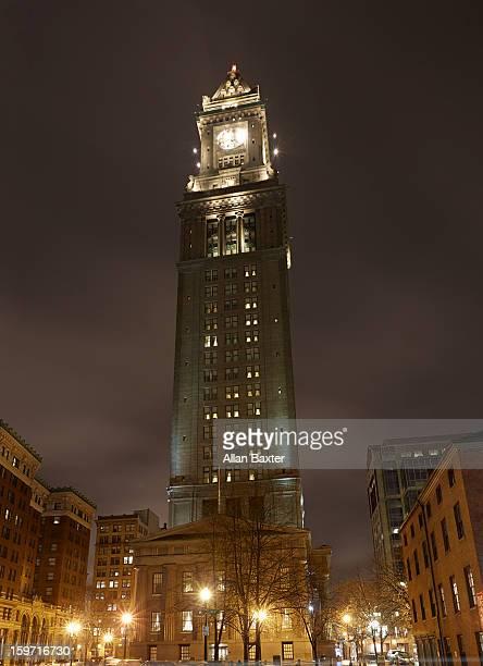 Custom House Tower at night