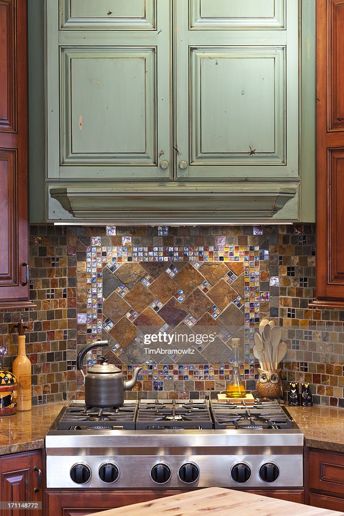 Custom Kitchen Backsplash And Cabinets High-Res Stock Photo ...