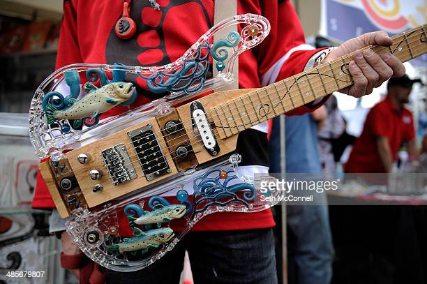 A custom made glass guitar by Sasquatch Glass of Seattle Washington during the High Times Cannabis Cup at Denver Mart in Denver Colorado on April 19...