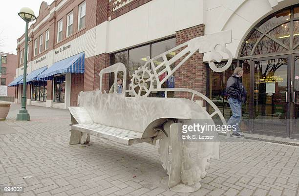 A custom made stainless steel bus bench sits in front of the International Towing and Recovery Museum and Hall of Fame January 17 2002 in Chattanooga...