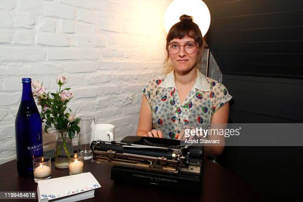 Custom poems are written by Lisa Ann Markuson during the Bambini Furtuna Launch Brunch at The Little Owl Townhouse on January 14, 2020 in New York...