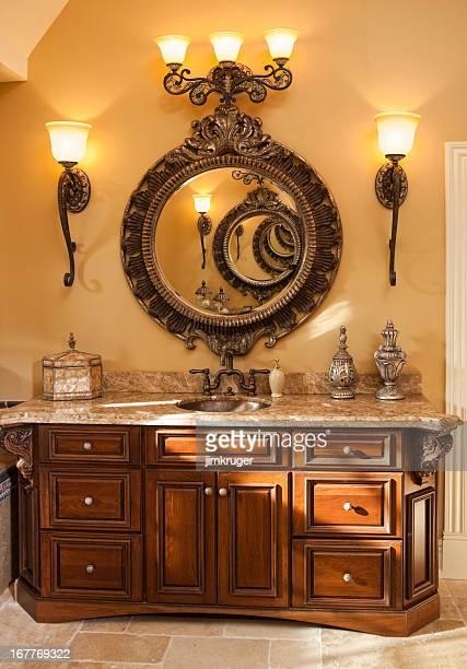 Custom residential bathroom vanity and mirror.