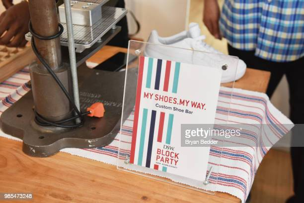 A custom shoe bar is seen during the DSW Block Party hosted by Olympians Adam Rippon and Mirai Nagasu on June 27 2018 at Ramscale Studio in New York...