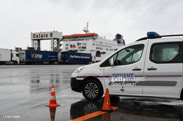 Custom vehicle is parked during a day of test in case of Brexit at the terminal Ferry in Calais, northern France on September 24, 2019. - French...