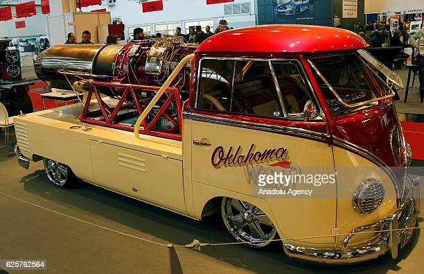 A custom Volkswagen bus with a mounted jet engine is displayed during Essen Motor Show which is an annual car fair in Essen Germany on November 25...