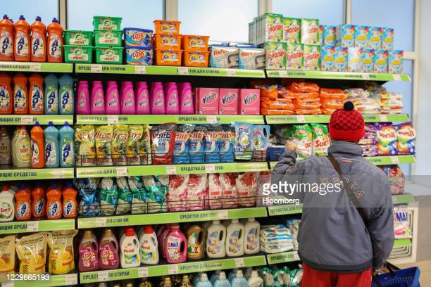 Customer browses cleaning and detergent products inside a Fix Price discount store in Moscow, Russia, on Friday, Oct. 30, 2020. Russias biggest...
