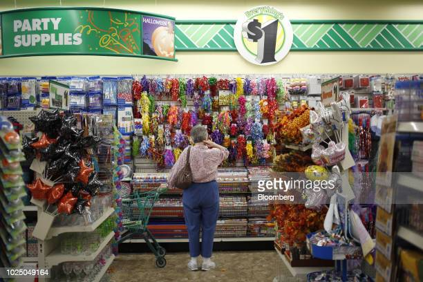 A customer browses gift wrapping supplies displayed for sale at a Dollar Tree Inc store in Louisville Kentucky US on Friday Aug 24 2018 Dollar Tree...
