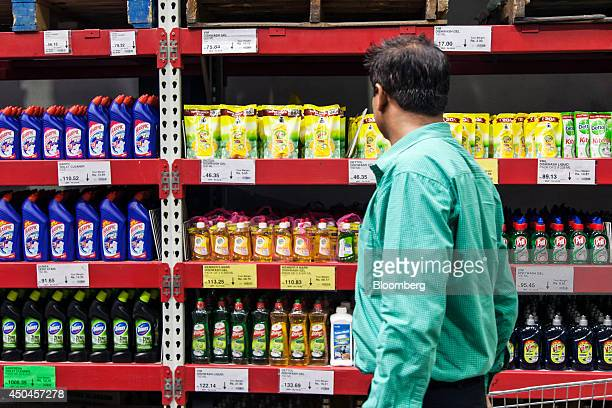 A customer browses homecare products on display at a Walmart India Pvt Best Price Modern Wholesale store in the town of Zirakpur on the outskirts of...