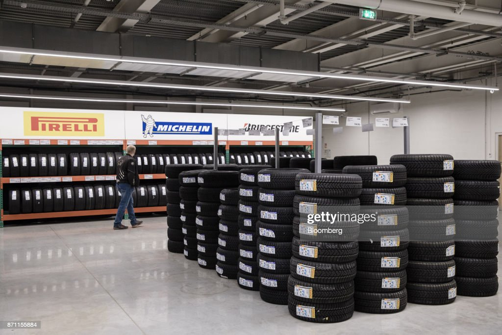 A customer browses Pirelli & C  SpA, Michelin & Cie  and Bridgestone