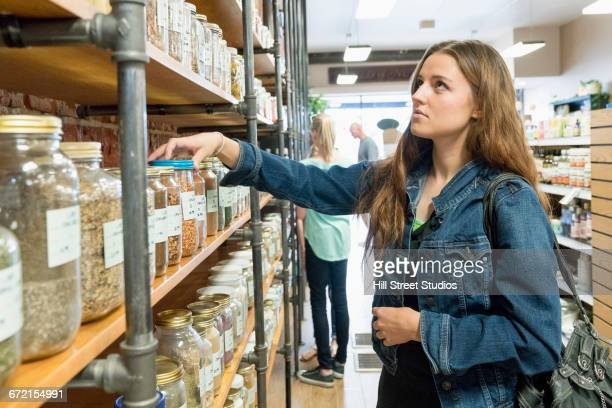 Customer browsing in nutrition store