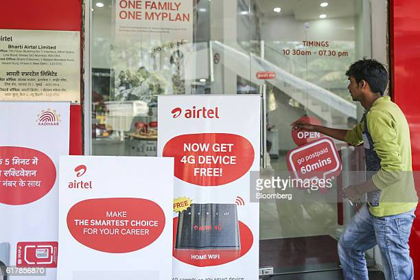 A customer enters a Bharti Airtel Ltd store in Mumbai India on Monday Oct 24 2016 Bharti Airtel is scheduled to release secondquarter earnings...