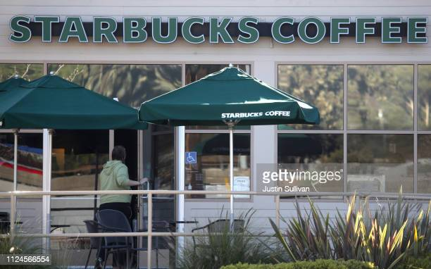 A customer enters a Starbucks Coffee shop on January 24 2019 in San Rafael California Starbucks will report first quarter earnings after today's...