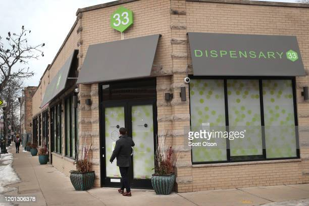 Customer enters Dispensary33 marijuana dispensary on January 22, 2020 in Chicago, Illinois. The state has seen a spike in requests for medical...