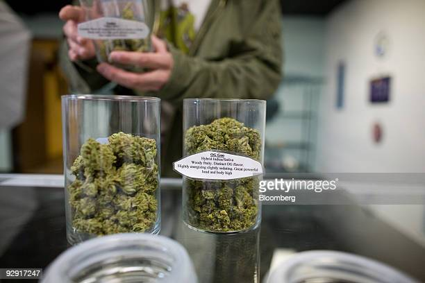 A customer examines jars of medical marijuana at the Highland Health medical dispensary and wellness center in Denver Colorado US on Wednesday Nov 4...