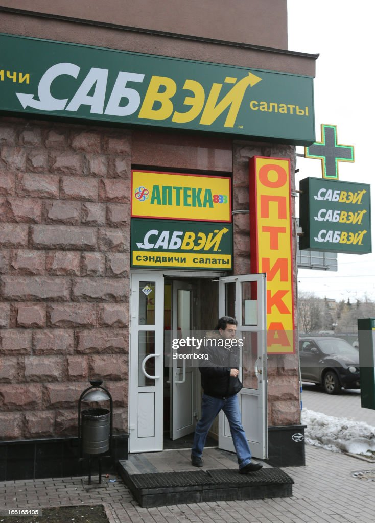 A customer exits a Subway fast food restaurant in Moscow, Russia, on Sunday, April 7, 2013. McDonald's, which virtually created the market for burgers and fries in the country and convinced Russians it's OK to eat with their hands, must fend off a growing challenge from rivals Burger King Worldwide Inc., Subway Restaurants, Yum! Brands Inc. and Wendy's Co. Photographer: Andrey Rudakov/Bloomberg via Getty Images