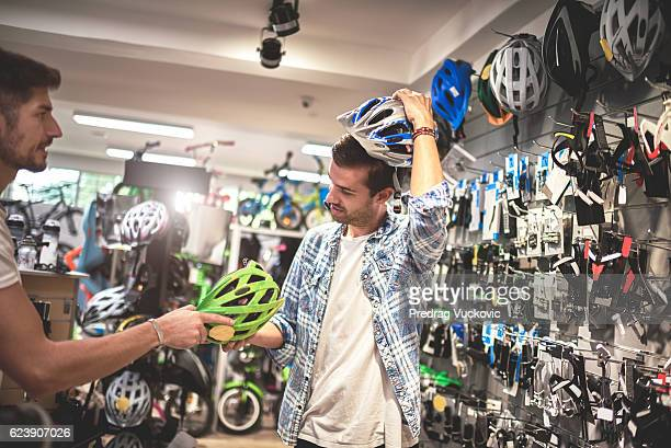 Customer in bicycle store