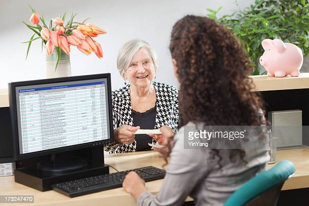 Customer in Retail Banking Counter Window with Bank Teller Hz