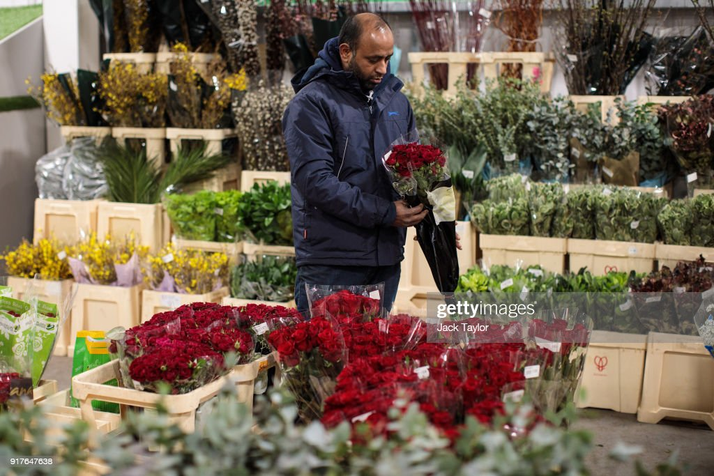 A customer inspects a bunch of roses at New Covent Garden Flower Market ahead of Valentine's Day on February 13, 2018 in London, England. New Covent Garden market is the largest wholesale fruit, vegetable, and flower market in the United Kingdom, supplying 75% of florists in London.