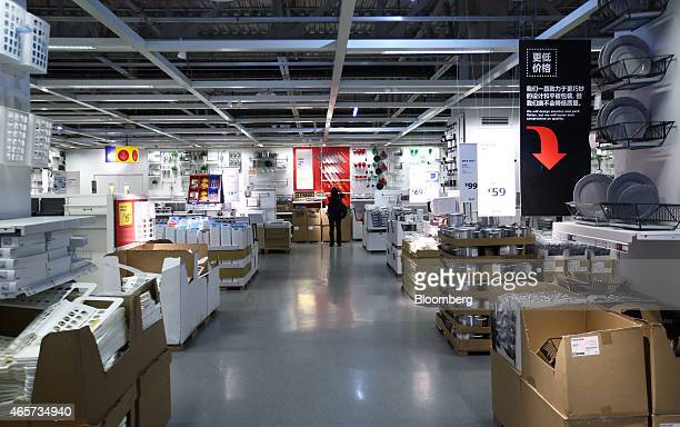A customer looks at kitchenware inside the Ikea Beijing Xihongmen Store operated by Ikea AB in Beijing China on Monday March 9 2015 China's consumer...