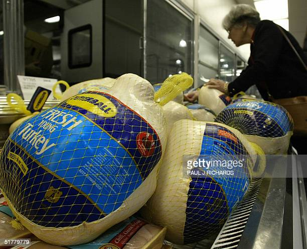 A customer looks over turkeys for sale at the Crystal City COSTCO discount shopping warehouse 23 November 2004 just two days before Thanksgiving is...